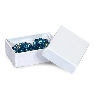 "Pack of 100, Solid 2 X 1.5 X 0.5"" White Swirl Jewelry Box w/Non-Tarnish Cotton For Items Such As Earrings Or Silverware"