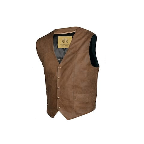 StS Ranchwear Western Vest Mens Chisum Leather Snap Brown