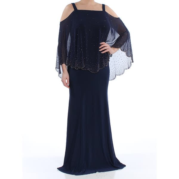 XSCAPE Womens Navy Cold Shoulder Embellished Drape Square Neck Full-Length  Mermaid Formal Dress Plus Size: L