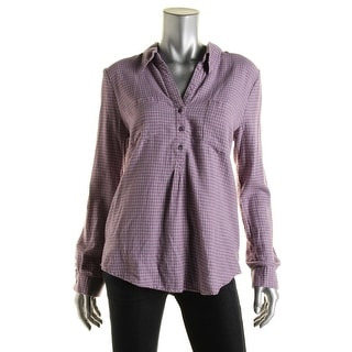 Soft Joie Womens Checkered Adjustable Sleeves Henley Top - M