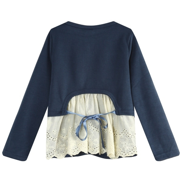 Richie House Girls Top with Fancy Lace Elements and Pearly Buttons RH0892