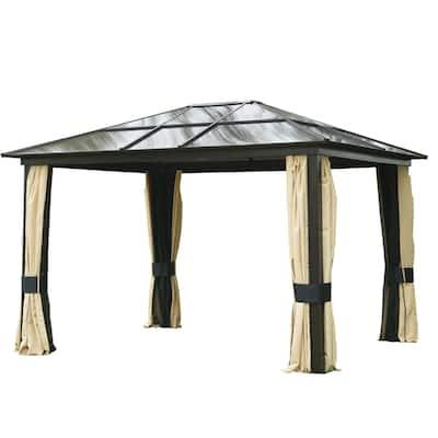 Outsunny 12' x 10' Outdoor Steel Plastic Hardtop Canopy Gazebo