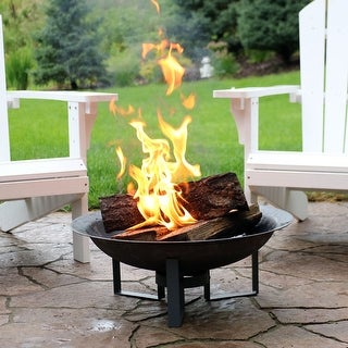Sunnydaze Outdoor Modern Cast Iron Fire Pit Bowl with Stand - 23-Inch