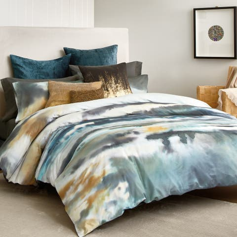 Abstract Watercolor Surf Blue Cotton Duvet Bedding Collection