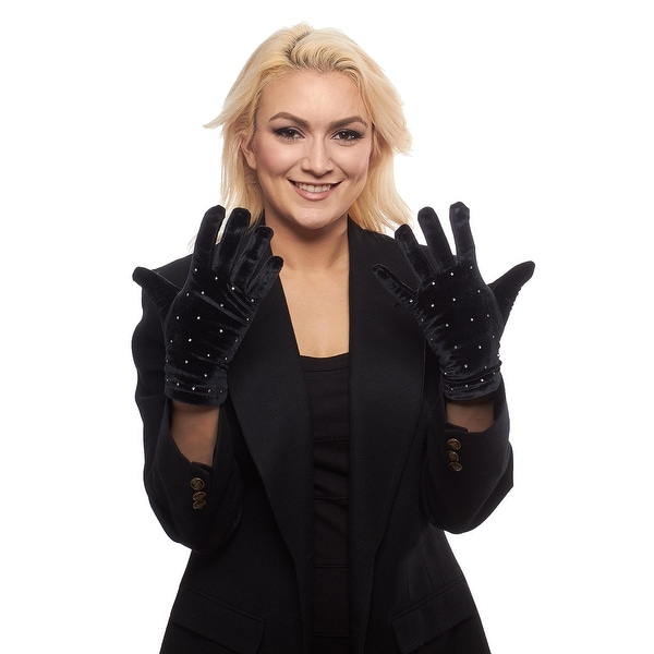 Twinkling Star Rhinestone Velvet Gloves with Thinsulate Lining