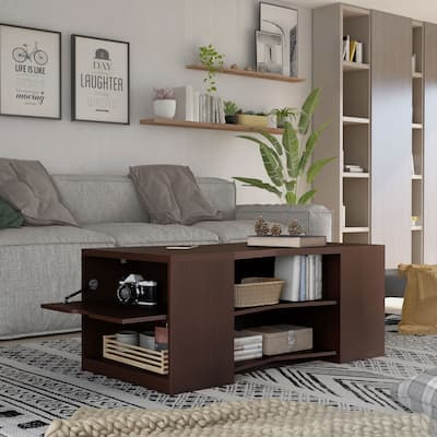 Furniture of America Orem Contemporary Brown 47-inch 6-shelf Coffee Table