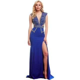 Mac Duggal Womens Embellished Cap Sleeves Formal Dress