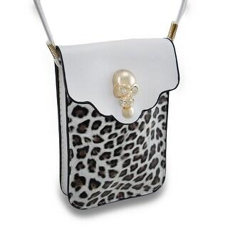 Leopard Print Rhinestone Skull White Cell Phone Case w/Removable Strap - Multicolored