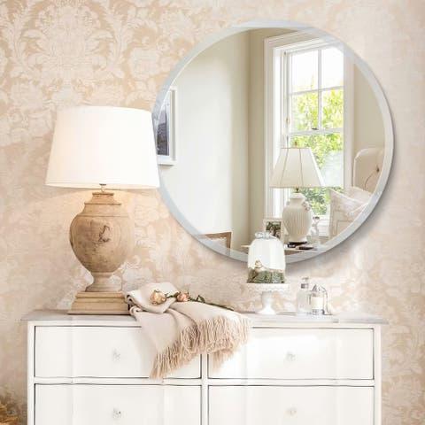 Modern Frameless Beveled Wall-Mounted Bathroom Vanity Mirror