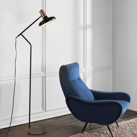 "SAFAVIEH Lighting 66-inch Amia Copper/ Black LED Floor Lamp - 21"" x 11"" x 66"""