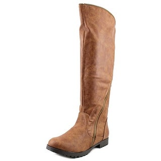 Qupid Wyatte-13 Women Round Toe Synthetic Brown Knee High Boot