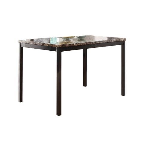 Faux Marble Top Dining Table with Metal Straight Legs, Brown and Black