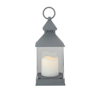 "9.5"" Dark Grey Candle Lantern with Flameless LED Candle"