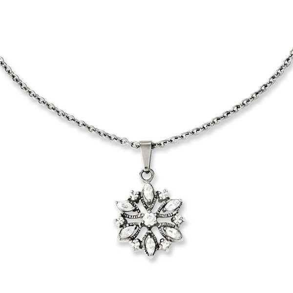 Chisel Stainless Steel Polished Flower with CZs Pendant 18in Necklace (1 mm) - 18 in