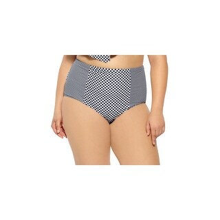 Plus Size High Waisted Retro Bikini Bottom, Plus Size Checkered Bikini Bottom - BLACK/WHITE