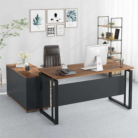 L Shaped Desk, 55 inches Computer Desk with Storage Shelves