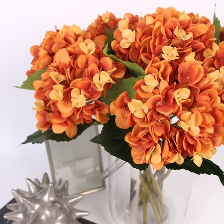 "FloralGoods Luxury Silk Hydrangea Stem in Orange 18"" Tall"