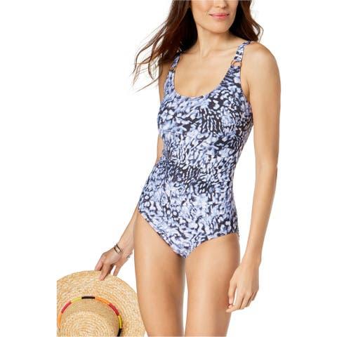 Calvin Klein Womens Starburst One Piece Tank Swimsuit, blue, 14