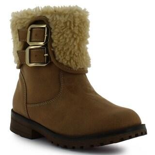 Tropicana Adult Honey Ivory Plush Faux Fur Trim Strap Suede Boots