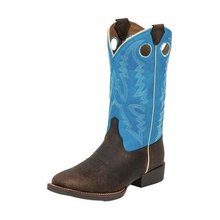 Justin Western Boots Boys Leather Buffalo Chocolate Brown Blue 377JR