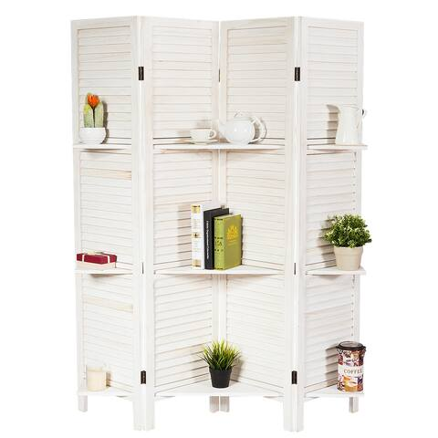 Costway 4 Panel Folding Room Divider Screen W/3 Display Shelves 5.6 Ft Tall WhiteNatural