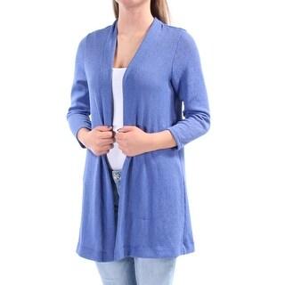 Womens Blue 3/4 Sleeve Open Sweater Size XS