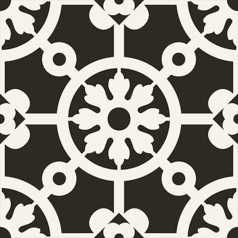 "Bercy Nero 8"" x 8"" Porcelain Patterned Wall & Floor Tile (Set of 29)"