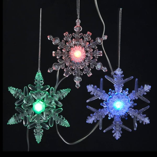 20 battery operated musical multi colored twinkle led snowflake christmas lights