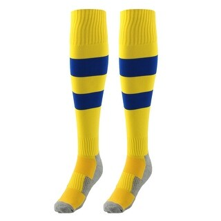Sports Nylon Baseball Soccer Football Long Socks Stockings Yellow Blue Pair