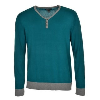 INC International Concepts Green Malachite Henley-Style Sweater XX-Large - 2XL