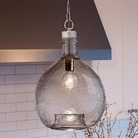 """Luxury Modern Farmhouse Pendant Light, 20.375""""H x 13""""W, with Mediterranean Style, Brushed Nickel Finish by Urban Ambiance"""