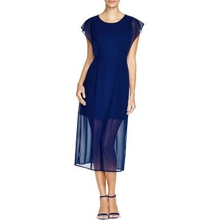 Finity Womens Casual Dress Sheer Overlay Cap Sleeves