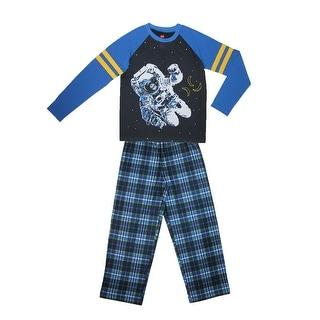 Hanes Boys' Space Monkey Pajama Set - Blue