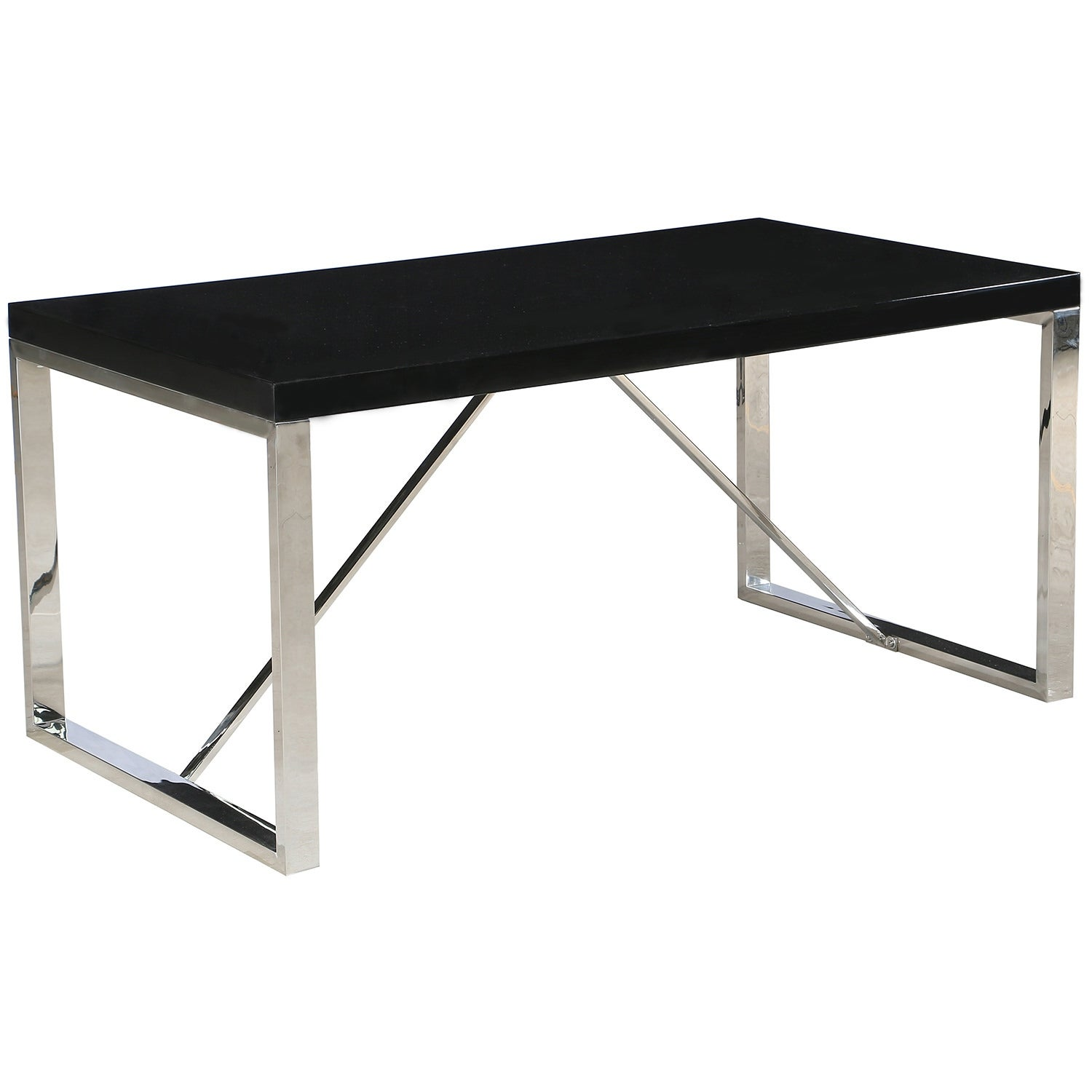 2xhome Modern Mid Century Black Glossy Paint Wood Top Silver Chrome Steel Leg Base Rectangle Dining Table Home Office Restaurant