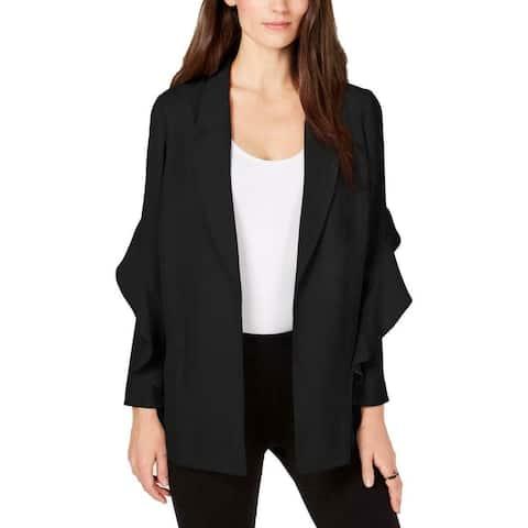 Alfani Women's Blazer Black Size Small S Flounce Sleeve Notched Collar