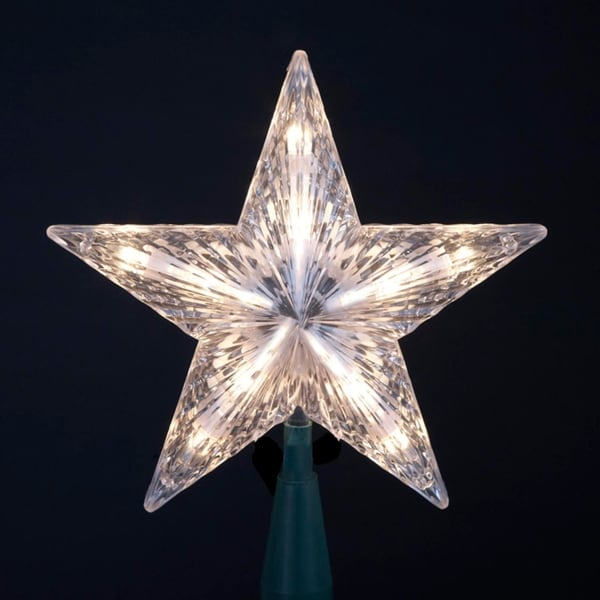 7 Clear 5 Point Clic Star Christmas Tree Topper