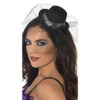 Sparkle Mini Top Hat With Veil, Veiled Top Hat - Black - One Size Fits most