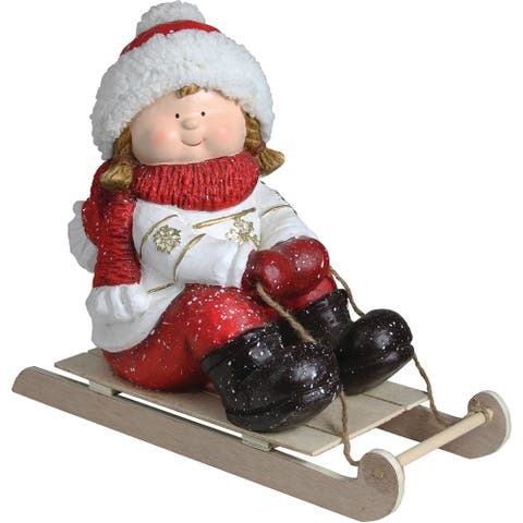 """8.5"""" Christmas Morning Red & White Girl on a Sled Decorative Christmas Tabletop Figure"""