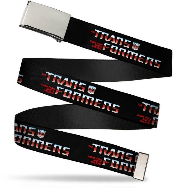 Blank Chrome Buckle Transformers Logo Black Blue Red Fade Webbing Web Belt - S