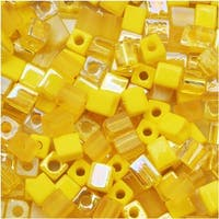 Miyuki 4mm Glass Cube Bead Mix Yellow Medley 10 Grams