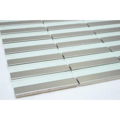 TileGen. Linear Tile in Clear Silver Wall Tile (10 sheets/10.6sqft.)