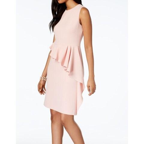 Vince Camuto Pink Ruffled Peplum Women's Size 8 Sheath Dress