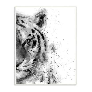 Stupell Industries Tiger Portrait Abstract Watercolor Safari Animal Black White Wood Wall Art