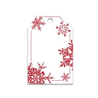 Red Snowflakes Printed Gift Tags 2-1/4x3-1/2""