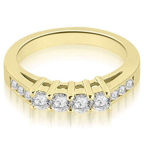 0.60 cttw. 14K Yellow Gold Prong Set Round Cut Diamond Wedding Band