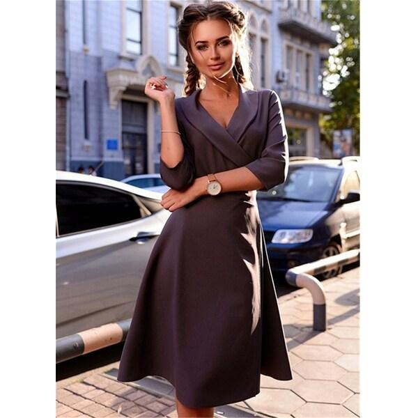 b1d227141d937 Elegant Wrap Style Tie Waist Trench Coat Party Slim Dress - Purple - XL