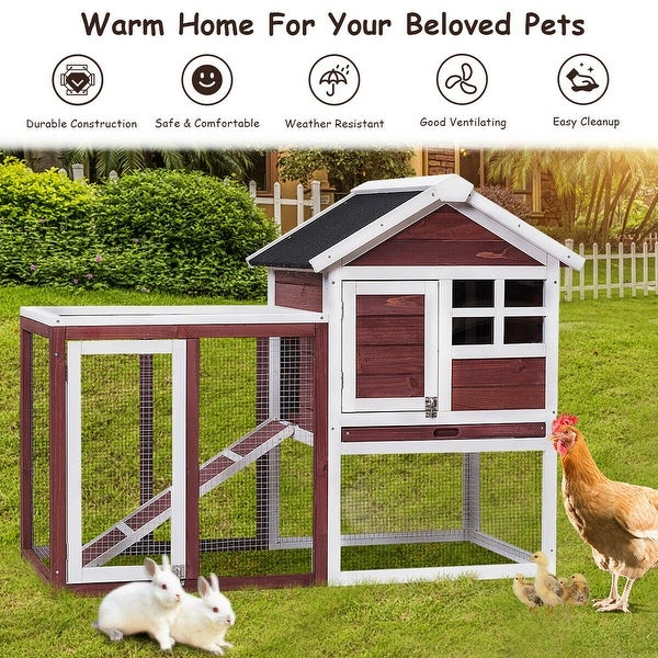 Gymax Wooden Rabbit Hutch Chicken Coop Poultry Cage Hen Duck House Pet Run Backyard - as pic