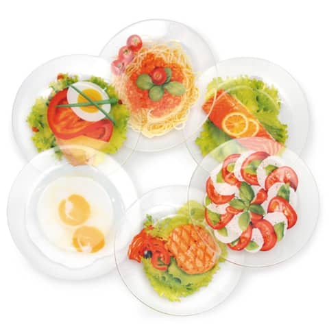 STP-Goods Real Food Durable Glass Dinnerware Plates Set of 6
