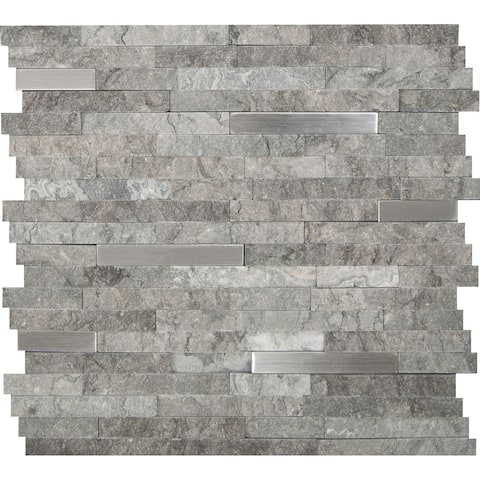 "MSI SMOT-SMTIL-8MM-G 12"" x 12"" Cladding Mosaic Sheet - Varied Glass, Metal and Stone Visual - Sold by Carton (10 SF/Carton)"