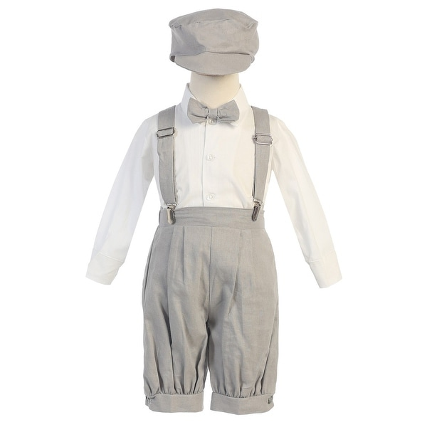 d2284b9ac Shop Little Boys Light Gray Suspenders Short Pants Hat Easter Outfit Set  2-4T - Free Shipping On Orders Over $45 - Overstock - 18121403